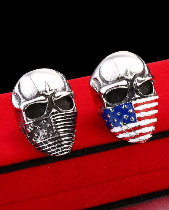 American Flag Facemask Skull Ring