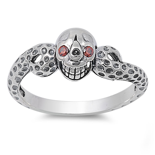 sterling silver red eyed skull ring for womens