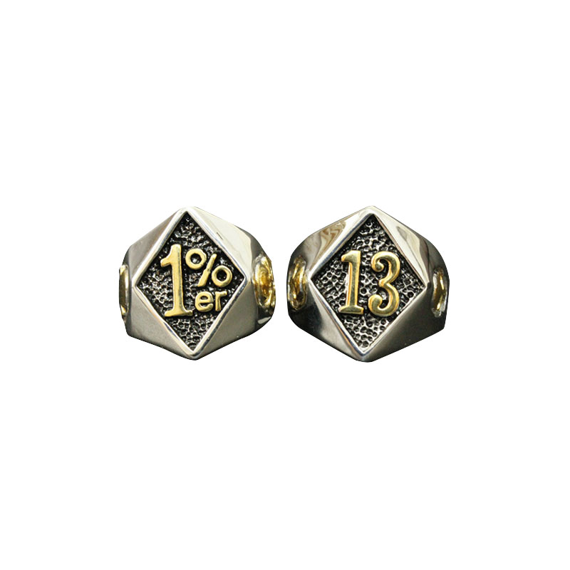 1er Lucky Number 13 Biker Ring Combo