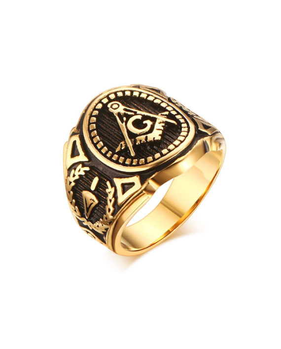Golden Classic Masonic Ring On Sale