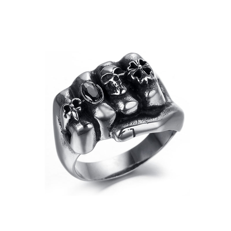 Anarchy Fist Skull Ring Outlet Sale