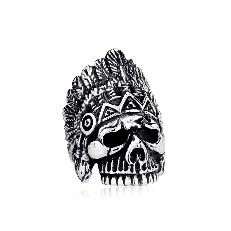 Indian Chief Skull Ring Cheap Sale